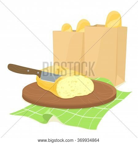 Knife Bread Slicing On A Wooden Board With Paper Bags Of Bread. Paper Bags With Bread. A French Bagu