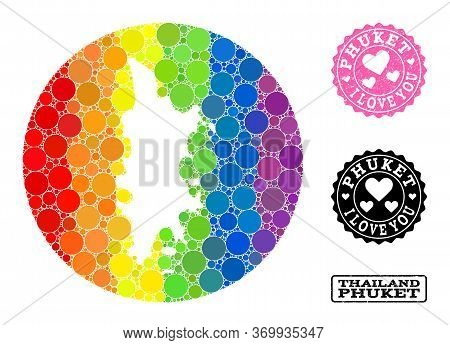 Vector Mosaic Lgbt Map Of Phuket With Spheric Spots, And Love Scratched Seal Stamp. Hole Circle Map