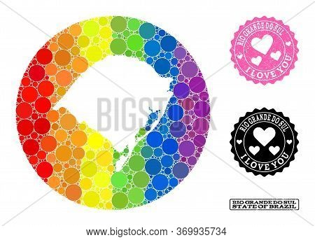 Vector Mosaic Lgbt Map Of Rio Grande Do Sul State With Spheric Items, And Love Scratched Stamp. Sten