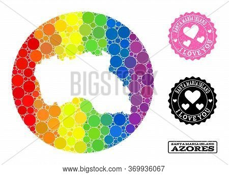 Vector Mosaic Lgbt Map Of Santa Maria Island Of Round Items, And Love Grunge Seal. Subtraction Circl