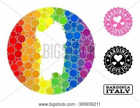 Vector Mosaic Lgbt Map Of Sardinia Region From Round Blots, And Love Watermark Seal. Hole Round Map