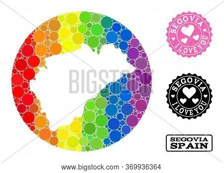 Vector Mosaic Lgbt Map Of Segovia Province With Round Items, And Love Watermark Stamp. Stencil Round
