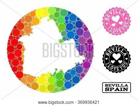 Vector Mosaic Lgbt Map Of Sevilla Province Of Spheric Elements, And Love Rubber Stamp. Subtraction R
