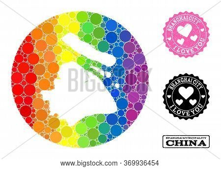 Vector Mosaic Lgbt Map Of Shanghai Municipality From Round Elements, And Love Scratched Seal Stamp.