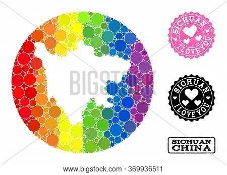 Vector Mosaic Lgbt Map Of Sichuan Province With Round Elements, And Love Rubber Stamp. Hole Round Ma