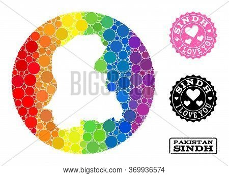 Vector Mosaic Lgbt Map Of Sindh Province With Round Blots, And Love Grunge Seal Stamp. Stencil Round
