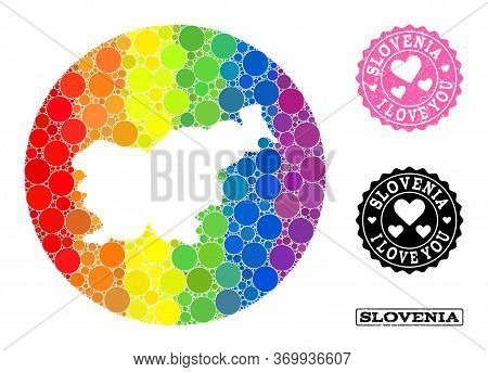 Vector Mosaic Lgbt Map Of Slovenia Of Round Elements, And Love Rubber Seal Stamp. Hole Round Map Of
