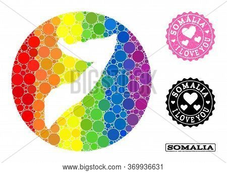 Vector Mosaic Lgbt Map Of Somalia With Round Blots, And Love Watermark Seal. Subtraction Round Map O