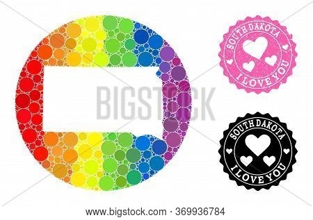 Vector Mosaic Lgbt Map Of South Dakota State With Round Items, And Love Rubber Seal Stamp. Stencil R