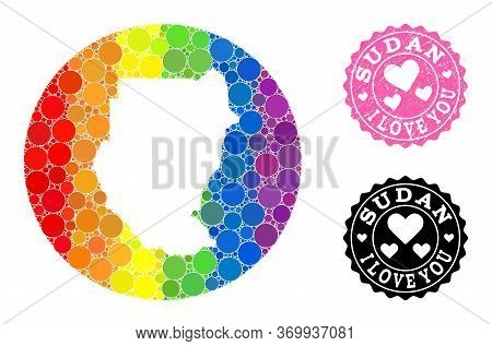 Vector Mosaic Lgbt Map Of Sudan With Circle Blots, And Love Scratched Seal Stamp. Subtraction Circle