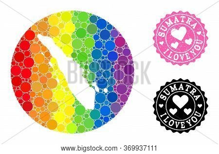Vector Mosaic Lgbt Map Of Sumatra Island With Round Blots, And Love Grunge Seal. Stencil Round Map O