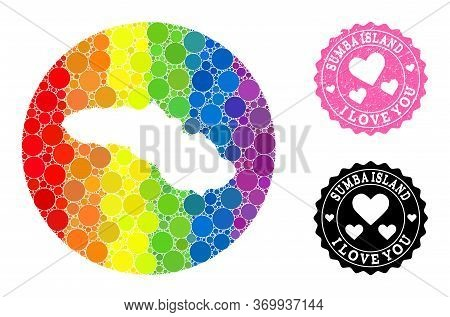 Vector Mosaic Lgbt Map Of Sumba Island From Spheric Spots, And Love Rubber Seal. Stencil Round Map O