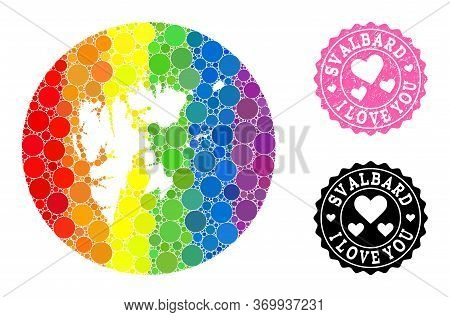 Vector Mosaic Lgbt Map Of Svalbard Islands From Spheric Elements, And Love Watermark Stamp. Stencil