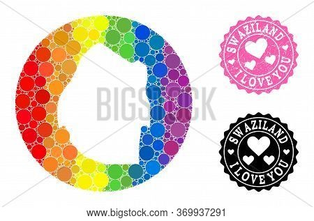 Vector Mosaic Lgbt Map Of Swaziland With Circle Blots, And Love Grunge Seal. Subtraction Round Map O