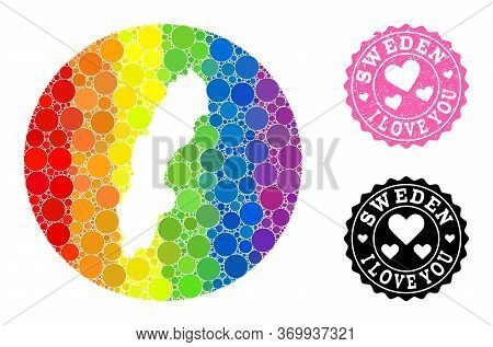 Vector Mosaic Lgbt Map Of Sweden With Round Items, And Love Watermark Seal Stamp. Subtraction Round