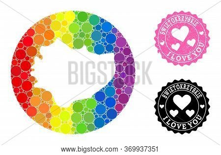 Vector Mosaic Lgbt Map Of Swietokrzyskie Province Of Circle Elements, And Love Watermark Seal. Hole