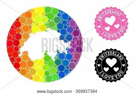Vector Mosaic Lgbt Map Of Switzerland With Spheric Blots, And Love Watermark Stamp. Subtraction Circ
