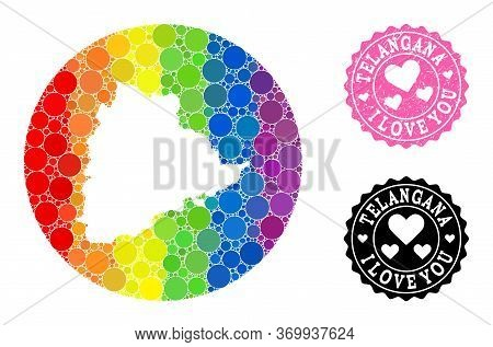 Vector Mosaic Lgbt Map Of Telangana State With Spheric Spots, And Love Rubber Seal. Hole Round Map O