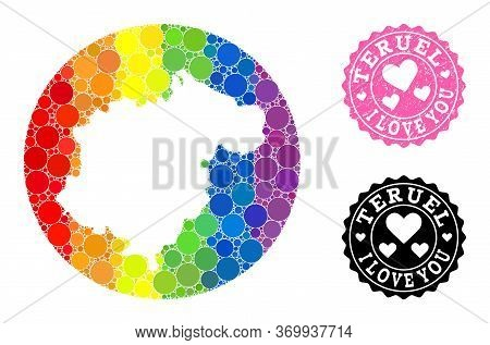 Vector Mosaic Lgbt Map Of Teruel Province Of Round Elements, And Love Watermark Seal Stamp. Subtract