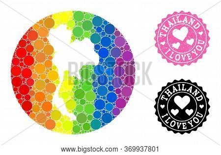 Vector Mosaic Lgbt Map Of Thailand Of Circle Elements, And Love Scratched Seal Stamp. Hole Circle Ma