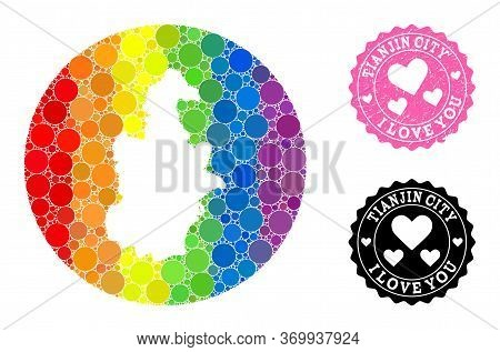 Vector Mosaic Lgbt Map Of Tianjin Municipality With Round Dots, And Love Watermark Seal. Subtraction