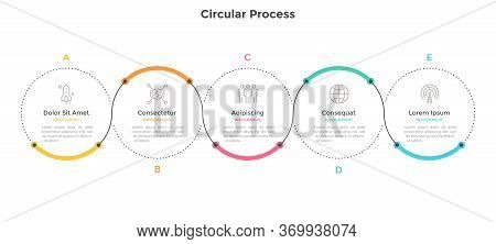 Horizontal Chart With Five Circular Elements And Colorful Curve Line. Concept Of 5 Successive Steps