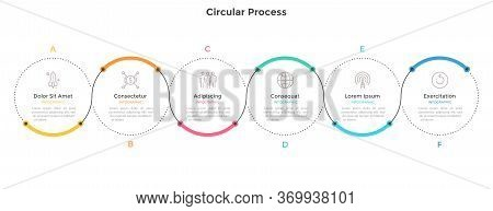 Horizontal Chart With Six Circular Elements And Colorful Curve Line. Concept Of 6 Successive Steps O