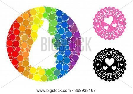 Vector Mosaic Lgbt Map Of Tocantins State With Circle Items, And Love Scratched Stamp. Hole Circle M