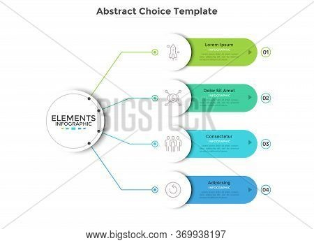 Modern Scheme With Four Round Paper White Elements Connected To Main Circle. Concept Of 4 Business O