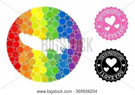 Vector Mosaic Lgbt Map Of Tokyo Prefecture From Circle Blots, And Love Watermark Stamp. Hole Round M