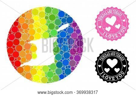 Vector Mosaic Lgbt Map Of Trinidad And Tobago Of Round Dots, And Love Scratched Stamp. Subtraction R