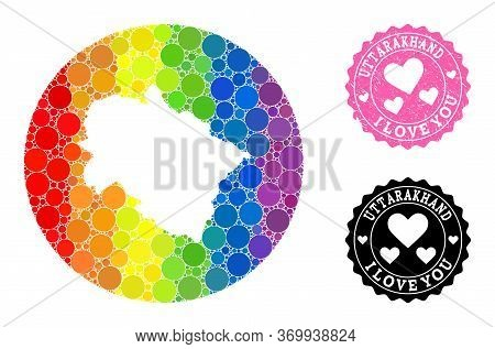 Vector Mosaic Lgbt Map Of Uttarakhand State With Round Spots, And Love Watermark Seal. Stencil Round