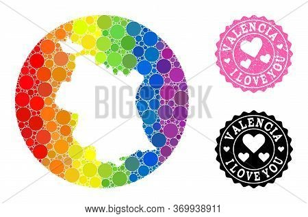 Vector Mosaic Lgbt Map Of Valencia Province With Round Spots, And Love Rubber Stamp. Stencil Round M