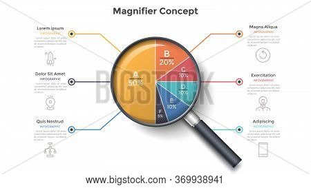 Magnifying Glass With Round Pie Chart Divided Into 6 Colorful Sectors. Concept Of Six Parts Of Busin