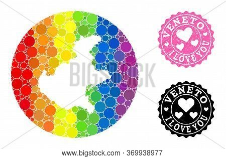 Vector Mosaic Lgbt Map Of Veneto Region With Round Blots, And Love Watermark Seal. Subtraction Round