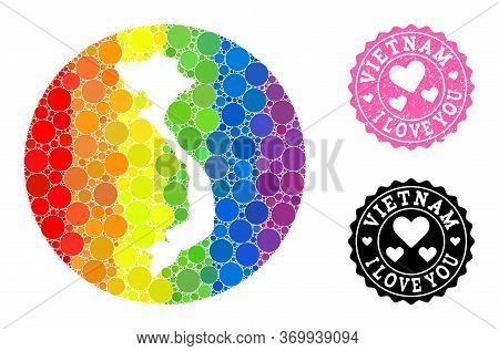 Vector Mosaic Lgbt Map Of Vietnam With Round Elements, And Love Watermark Seal. Stencil Round Map Of