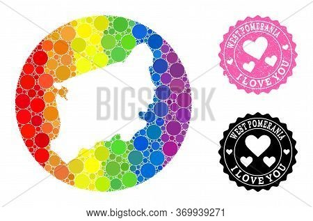 Vector Mosaic Lgbt Map Of West Pomerania Province Of Round Dots, And Love Scratched Stamp. Stencil C