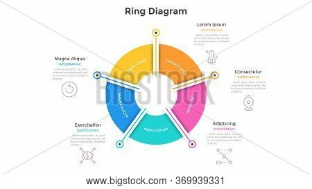 Ring-like Pie Chart Divided Into 5 Colorful Sectors. Concept Of Five Options Of Company Management.