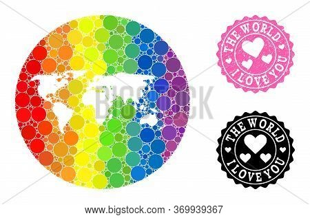 Vector Mosaic Lgbt Map Of World With Round Items, And Love Watermark Seal. Subtraction Circle Map Of