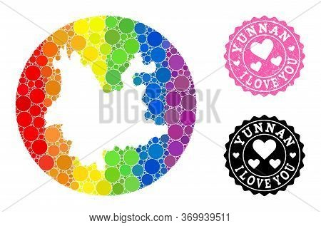 Vector Mosaic Lgbt Map Of Yunnan Province With Round Elements, And Love Grunge Seal Stamp. Hole Circ