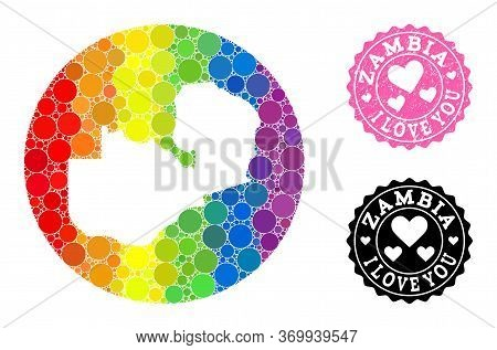 Vector Mosaic Lgbt Map Of Zambia With Spheric Items, And Love Watermark Stamp. Stencil Round Map Of