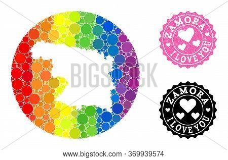 Vector Mosaic Lgbt Map Of Zamora Province With Round Items, And Love Scratched Stamp. Subtraction Ro