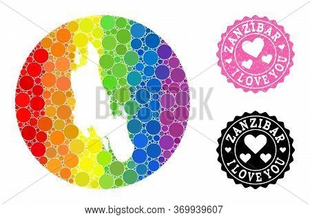 Vector Mosaic Lgbt Map Of Zanzibar Island With Circle Dots, And Love Grunge Seal Stamp. Subtraction