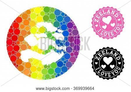 Vector Mosaic Lgbt Map Of Zeeland Province From Round Elements, And Love Rubber Stamp. Subtraction R