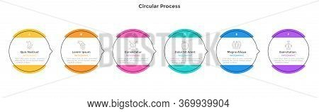 Process Chart With 6 Circular Elements. Concept Of Six Strategic Steps Of Progressive Development. F