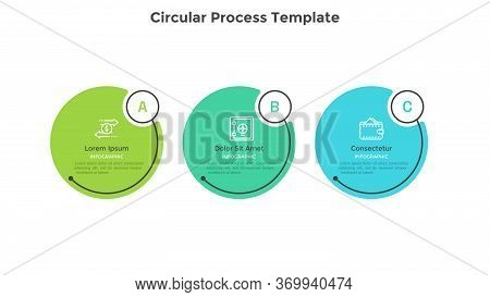 Horizontal Process Diagram With 3 Round Elements. Concept Of Three Successive Steps Of Business Stra