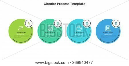 Horizontal Process Diagram With 4 Round Elements. Concept Of Four Successive Steps Of Business Strat