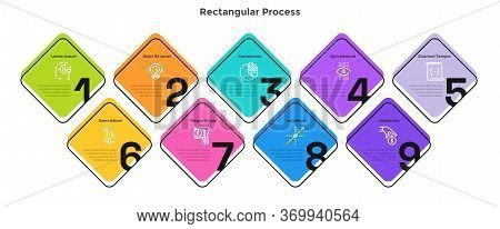 Process Graph With 9 Square Elements With Figures. Concept Of Nine Successive Steps Of Startup Devel