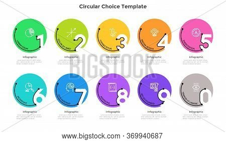 Process Chart With 10 Colorful Circular Elements With Figures. Concept Of Ten Successive Stages Of B