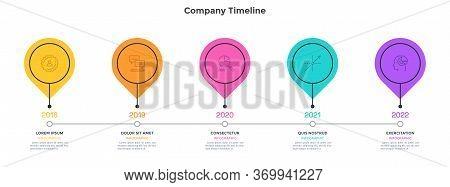 Horizontal Timeline With 5 Round Elements. Concept Of Five Milestones Of Company Development History